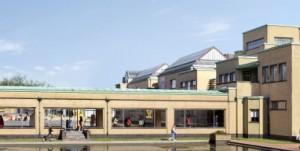 Buitenkant Gemeentemuseum,ontwerp H.P.Berlage