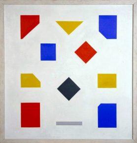 Compositie met grijze streep, Bart van der Leck, 1956 /58, foto van de website van het museum