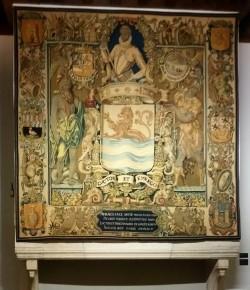 Het zesde tapijt met de wapens van Zeeuwse steden, het portret van Willem van Oranje en het wapenschild van Zeeland; afgemaakt in 1604
