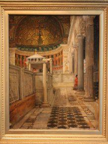 Interieur van de San Clemente te Rome, Lawrence Alma Tadema, 1863