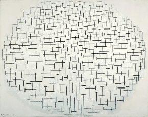 """""""Compositie 10 in zwart wit, Piet Mondriaan, 1915, foto van de website van het museum."""