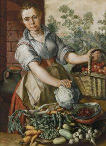Groenteverkoopster, Joachim Beuckelaer, 1565, foto van de website van het museum