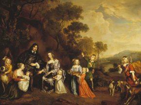 Portret van Willem van der Does met vrouw en kinderen, Johannes Mijtens, 1650