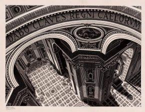 Sint Pieter van binnen, houtsnede, 1935