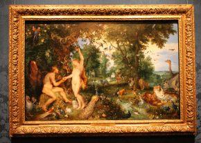 Het aardse paradijs met de zondeval van Adam en Eva, Jan Brueghel I en Pieter Paul Rubens, ca 1615